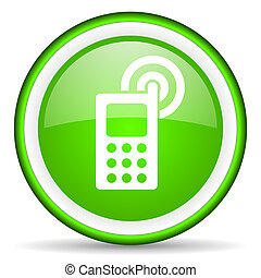cellphone green glossy icon on white background