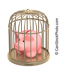 Piggy bank closed in a cage. Object over white