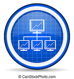 network blue glossy icon on white background