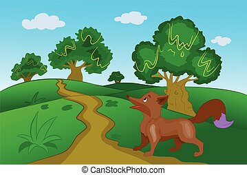 Brown Fox in the Forest, illustration