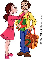 Man with Presents for His Sweetheart, illustration