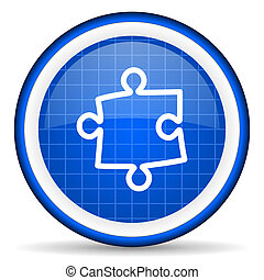 puzzle blue glossy icon on white background