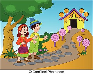 Hansel and Gretel, illustration - Hansel and Gretel Finding...