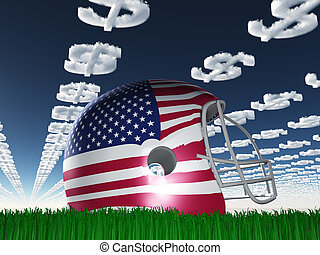 American FLag Football Helmet on Grass with DollarSymbol...