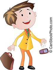 Businessman with Briefcase and Cellphone, illustration