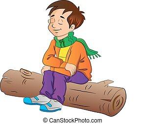 Boy Sitting on a Log, illustration