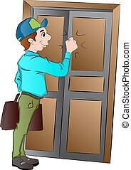 Salesman Knocking on a Door, illustration - Salesman...