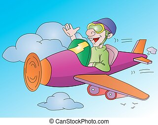 Man Flying an Airplane, illustration - Man Flying an...