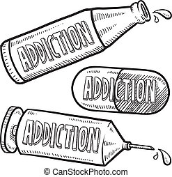 Drug and alcohol addiction sketch - Doodle style bottle,...
