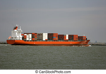 containership - ship in the harbour of rotterdam
