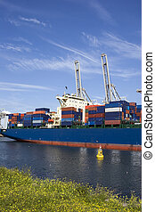loading containers in the harbour of rotterdam