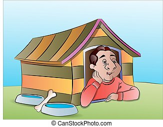 Man in a Dog House, illustration - Man in a Dog House,...