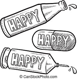 Happy drugs and alcohol sketch - Doodle style bottle,...