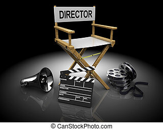 cinema equipment - 3d illustration of filmmaker equipment...