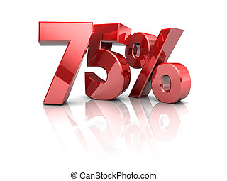 75 percent discount - 3d illustration of 75 percents...