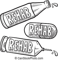 Drug and alcohol rehab sketch - Doodle style bottle, syringe...
