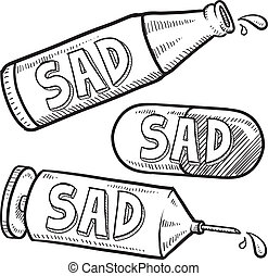 Drug and alcohol depression sketch - Doodle style bottle,...