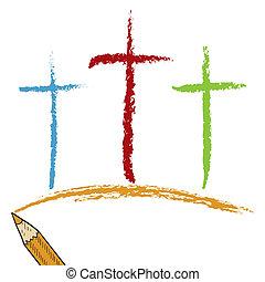 Calvary, Cruces, coloreado, lápiz