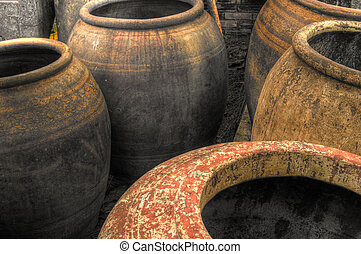 Water jars - Large empty pottery water jars from Thailand