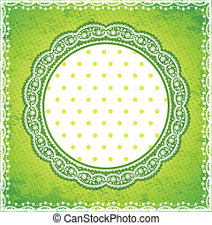 Elegan Green lace frame with polka dot background
