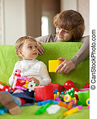 glücklich, Mutter, Spiele, kind