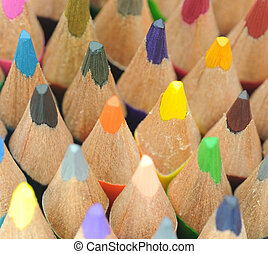 Colored pencils - Group of different coloring pencils with...