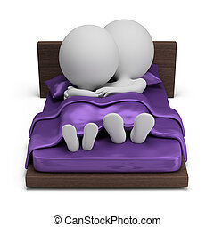 3d small people - couple in bed - 3d small people - couple...
