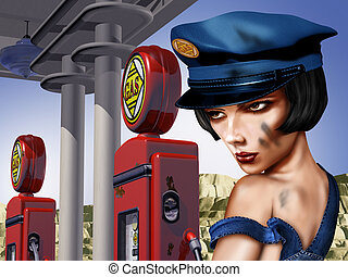 Vintage Gas Station - Vintage gas station with a female gas...