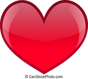 Red glossy heart icon, eps 10, on white