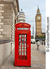 Red phone booth. London, England - Red telephone box and Big...