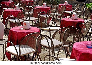 Outdoor seating - Tropea - Calabria - The tables of a cafe...