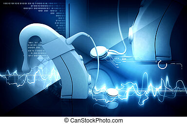 Cochlear implant - Digital illustration of Cochlear implant...