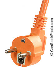 Power cable - Orange power cable isolated on white...