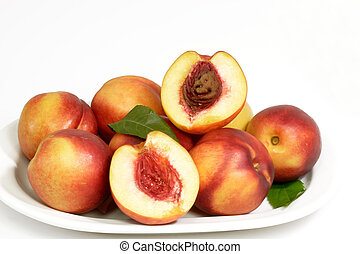 Healthy nectarines - Juicy nectarines on a plate with bright...