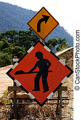 sign quot;Work in progressquot; on the road - sign Work in...