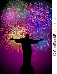 Happy New Year fireworks in Rio Brazil - Happy New Year...
