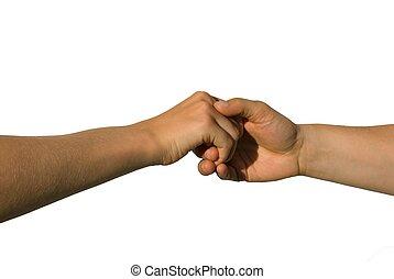 handshake - a careful handshake between two young hands,...