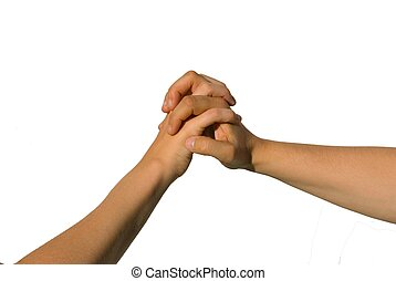 two hands holding each other - two young hands holding each...
