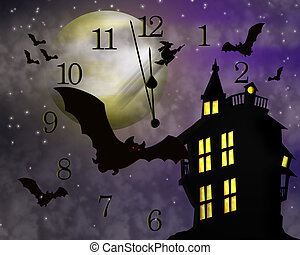 Halloween Haunted House - Illustration composition for...