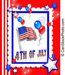 July 4th Party invitation - Illustrated text and red white...