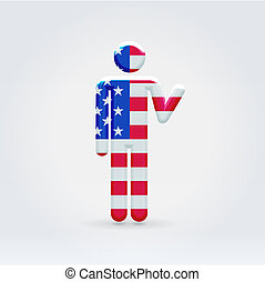 USA symbolic citizen icon - USA symbolic citizen waving...