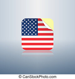 USA peeling sticker rounded corners icon for web