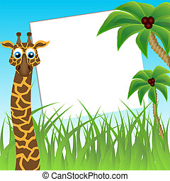 Children`s photo framework Funny giraffe on background of...