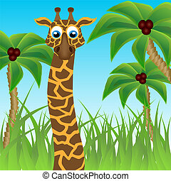 Funny giraffe on background of palm trees The vector art...