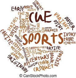 Cue sports - Abstract word cloud for Cue sports with related...