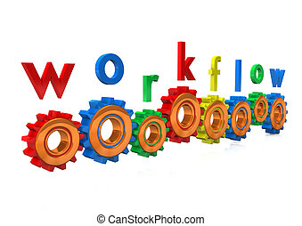 Workflow Gears - Multicolored gears with the text...