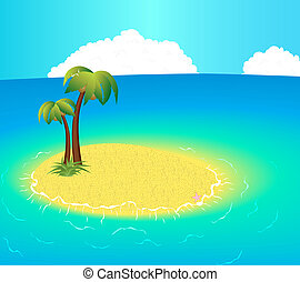 Small uninhabited Island with tropical palms and starfish