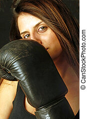 Self-defense - A girl during a boxing workout