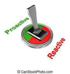 Proactive Reactive - Switch symbol with text Proactive and...