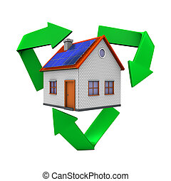 Eco House - Eco house with recycling symbol. White...
